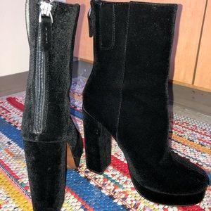 Black Velvet Platform Booties